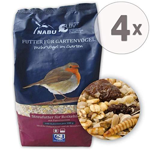 CJ Wildlife Wild-Vogelfutter Rotkehlchen Menü, Sparpack 4 x 1 kg