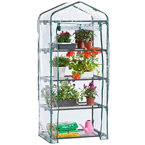VonHaus 4 Tier Mini Plastic PVC Greenhouse – Small Plant House/Grow House for Garden and Outdoors – Roll Up Zip Panel Door, Easy No Tool Assembly
