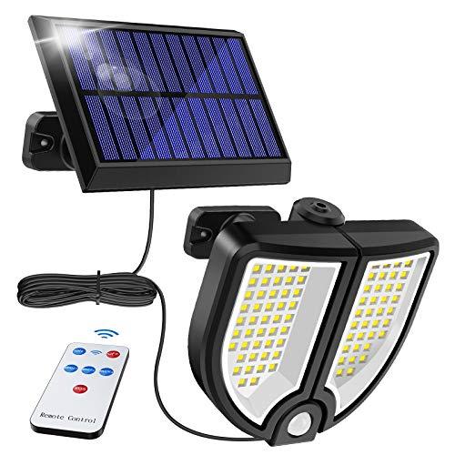 MPJ 90 LED Lámparas solares para exteriores, lámpara solar exterior con detector de movimiento, IP65, impermeable, 3 modos, cable de 16,5 metros, 18 W, luz solar para jardín, patio