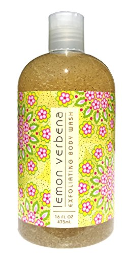 Greenwich Bay LEMON VERBENA Exfoliating Body Wash for Men and Women-Gentle Body Scrub Parabens Free -Sulphates Free-Blended with Loofah, Apricot Seed-Moisturizing Shea Butter -16 oz.