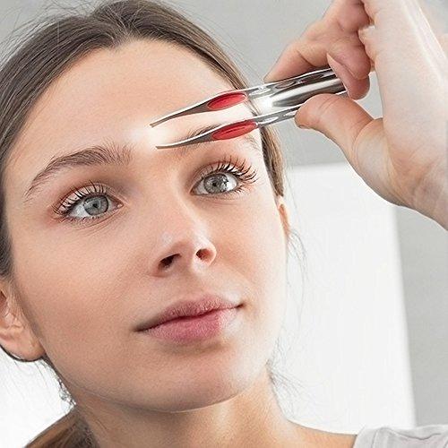 Pinzas depilar profesionales con LUZ LED.Ideales para quitar los pelos de la nariz orejas cejas y barba u otras partes del cuerpo