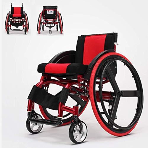 Silla de Ruedas autopropulsada, aleación de Aluminio Liviana, Deportes, desmontaje rápido con Pedal, Ajuste antivuelco para discapacitados/Ancianos, portátil