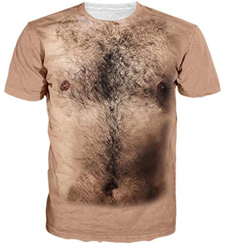 Goodstoworld 3D Hair Chest T-Shirt Damen Herren Unisex Muster Print Sommer Beiläufige Kurzarm T Shirt Tshirt M