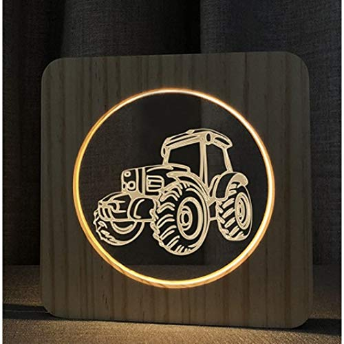 MHXXYD LED Usb 3D Nachtlampje kamerdecoratie van hout warm Lights Home Decor Tractor Lamp 1