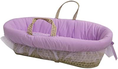 Baby Doll Bedding Fluffy Moses Basket, Lilac