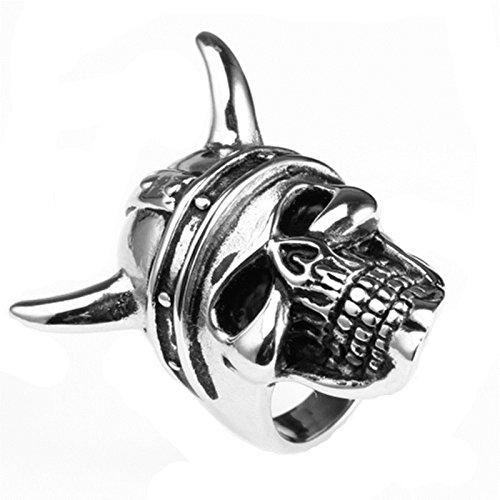 Bishiling Modeschumck Edelstahl Ring für Herren Teufel Schädel Totenkopf Partnerringe Silberring Ringgröße 60 (19.1)