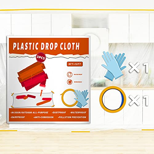 3 Pack Plastic Drop Cloth Plastic Sheets for Painting, 9x12-Feet Paint Covers for The Floor, Waterproof Dustproof Tear Resistance Tarp for Furniture, Wall Painting, Patio, with Gloves Masking Tape