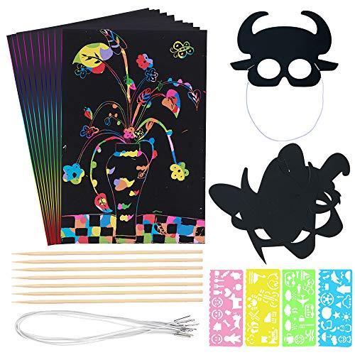 50 Blatt Regenbogen-Kratzpapier, Kunst-Set für Kinder, 50 Blatt, inkl. 4 Stylus-Stifte und Schablonen, 7er-Pack Holz-Eingabestifte, 6 Stück Kratzpapier-Masken