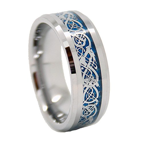 Unisex 8mm Silver-Colored Dragon Blue Inlay Tungsten Wedding Band Size 6