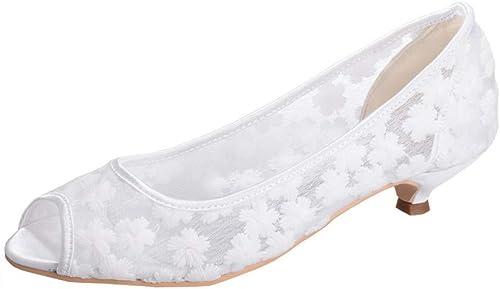 OEYW Chaussures de mariage en ivoire pour la mariée Mary Jane Court Chaussures en dentelle pour femmes Talon moyen Chaussures de soirée de bal pour femmes Chaussures habillées
