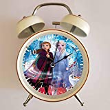 目覚まし時計 - FROZEN 2 アナと雪の女王 - Guided Spiritの大音量目覚まし時計 バックライト 静か 連続秒針 スヌーズ 電池式 置き時計 卓上時計 直径約4インチ(ホワイト)