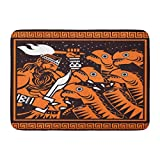 LnimioAOX Doormats Bath Rugs Outdoor/Indoor Door Mat Spartan Orange and Black Painting of Greek Mythology Hercules Cutting Hydra Heads Arabesque Bathroom Decor Rug Bath Mat
