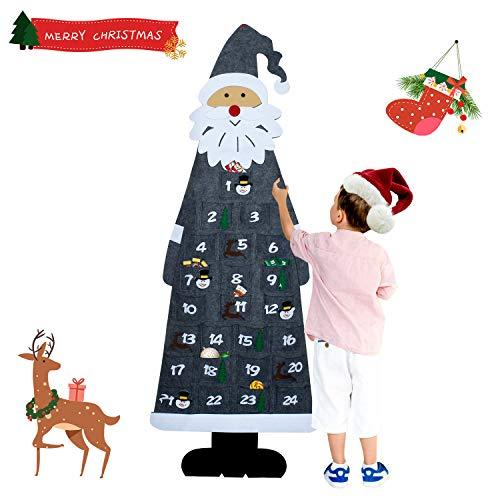 KATELUO Filz-Adventskalender Santa, Weihnachtsmann Adventskalender mit 24 Taschen, Adventskalender, Filz Nikolaus Adventskalender für Indoor Wanddekorationen, Home Deco,Weihnachtsschmuck (Grau)