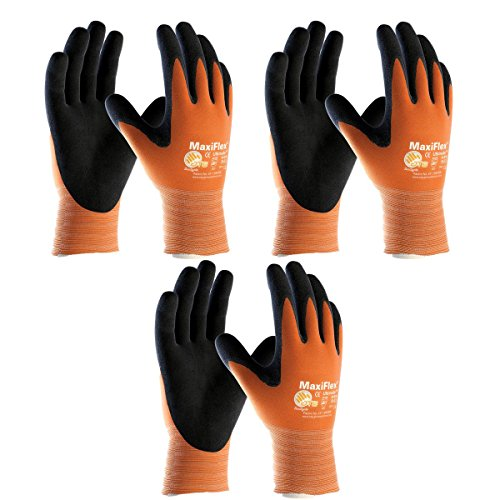 PIP 3 Pack MaxiFlex Ultimate Hi-Vis Orange Work Gloves 34-8014 Sizes Small-X-Large (Medium), Orange and Black (34-8014 - MEDIUM - 3/PACK)