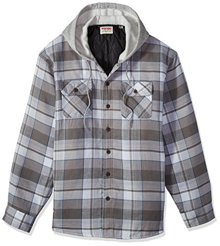 Wrangler Authentics Men's Long Sleeve Quilted Lined Flannel Shirt Jacket with Hood,Cloud Burst,X-Large