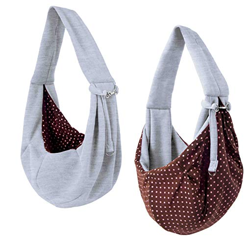 iPrimio Dog and Cat Sling Carrier – Hands Free Reversible Pet Papoose Grey Bag - Soft Pouch and...