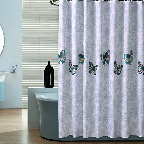 Mokiki Polyester Shower Curtain Waterproof, Decorative for Bathroom, Solid Modern Butterfly Shower Curtain Sets with 12 Hooks, Water-Repellent, 72x72 inches