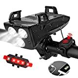 Bike Lights Front and Back, Kammoy 4 in 1 Rechargeable Waterproof USB Bicycle LED Light with Phone...
