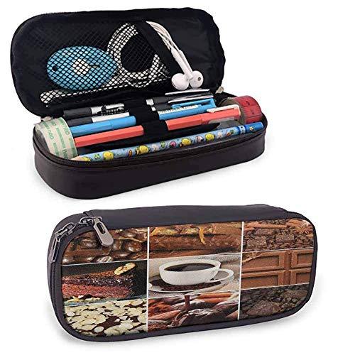 Brown Pencil Case Kaffee und Schokolade Tasty Collage Bohnen Tassen Snacks Gebäck Espresso Kakao Zusammensetzung tragbare Pencil Case Brown