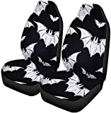 Semtomn Set of 2 Car Seat Covers Colorful Abstract Pattern Bats Symbols Black Universal Auto Front Seats Protector Fits for Car,SUV Sedan,Truck