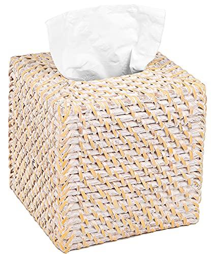 Yesland Square Rattan Tissue Box Cover - 5 x 5 x 5.5 Inches Woven Tissue Box Holder - Refillable Facial Paper Napkin Dispenser Holder for Living Room, Bedroom, Bathroom(White)