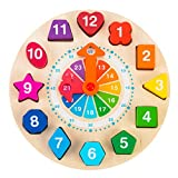 Wooden Shape Color Sorting Clock – Teaching Time Number Blocks Puzzle Stacking Sorter Jigsaw Montessori Early Learning Educational Toy Gift for 2 3 4 Year Old Toddler Baby Kids