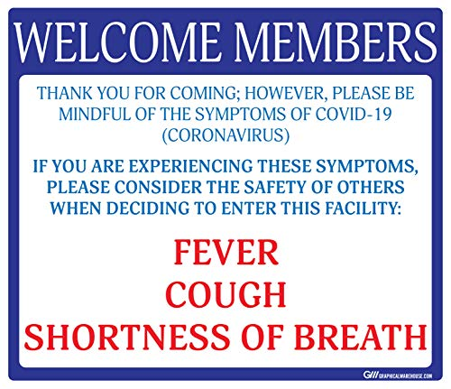 """Gym'Do Not Enter with Symptoms' COVID-19 (Coronavirus), Durable Vinyl Banner- 36x24"""" Sign by Graphical Warehouse- Visual Communication Tool (Blue/White)"""