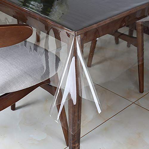 Clear Vinyl Tablecloth Protector Waterproof/Oil-Proof Rectangle Plastic Transparent Sheet Table Cover 54X102 Inch