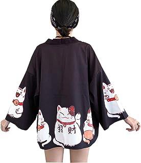YM YOUMU Women Girls Japanese Kimono Cardigan Coat Loose Yukata Outwear Tops Fortune Lucky Cat