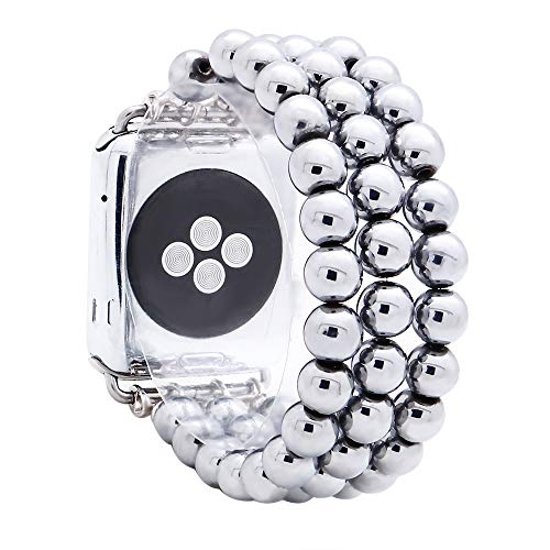 KAI Top Compatible for Apple iWatch Band 38mm 40mm 42mm 44mm,8mm Hematite Beaded Elastic Band Comptible with iWatch Series 5 4 3 2 1,Beaded Stretch Bracelet Replacement Strap Band for Women Girls