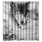 BBFhome Hem Gewichte Duschvorhang 180 x 180 cm Personalisierte Wolf Liebe Fantastische Wild Animal Sketch Stil Wolf Liebe Fantastische Wild Animal Sketch Stil Verkauft durch erstaunlich zu Bad-Dekor