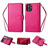 Black Sales Friday Deals Cyber Sales Monday Deals Week-iPhone 11 Pro Wallet Case [2 in 1 Detachable] Vintage Leather Wallet Case Magnetic Detachable Slim Back Cover Card Holder Wrist Strap (Pink)