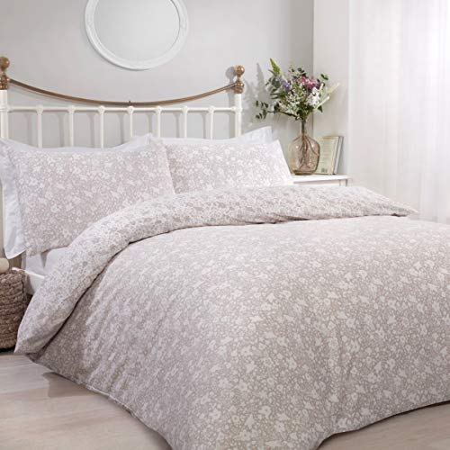 Sleepdown Ditsy Floral Natural Reversible Easy Care Duvet Cover Quilt Bedding Set with Pillowcase - Single (135cm x 200cm)