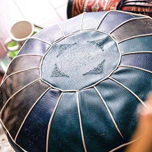 Suge Polster Ottoman Hocker Leder Puff, handgemachte marokkanische Sitzkissen Haushalt Dekoration Runde Fuß Hocker Sitzbezug (Color : C, Size : 50x50x40cm(20x20x16inch))