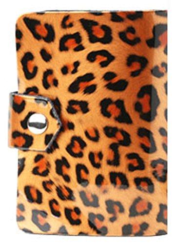 7色 レオパード 豹柄デザインの牛革 26ポケット収納 可愛いエナメル カラフル カードケース 名刺ケース 名刺入れ カード入れ 大容量 女性にも 豹柄がかわいい!26ポケット カードケース 名刺ケース コンパクト カード入れ ポイントカード クレジットカ