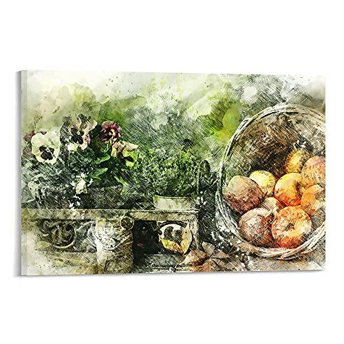 Grande decorazione da parete per soggiorno-Natura morta pittura di fiori, piante e frutta-decorazione da parete Now Wall Art Bagno Soggiorno Home Decor40x50 pollici senza cornice