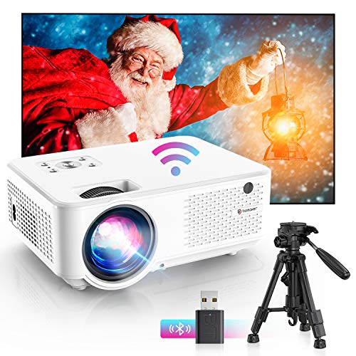 Bomaker wifi mini Beamer,7000 Support 1280P Full HD Heimkino tragbarer Beamer, Max. 300'' Display, 65000 Stunden, kompatibel mit TV Stick, PS4,HDMI, USB, VGA, AV, Laptop, iOS/Android Smartphone