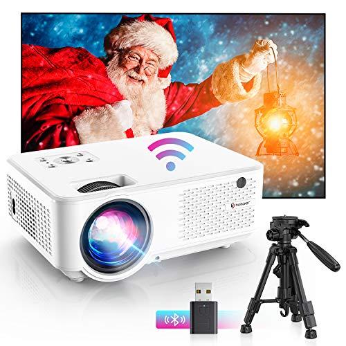"Bomaker Proyector WiFi, Proyector Portátil, 7000 Brillo, Soporta 1080p Full HD, Cine en Casa 300\"" Duplicar Pantalla para Android/iPhone Smartphone iPad, HDMI/USB/VGA/AV, C9"