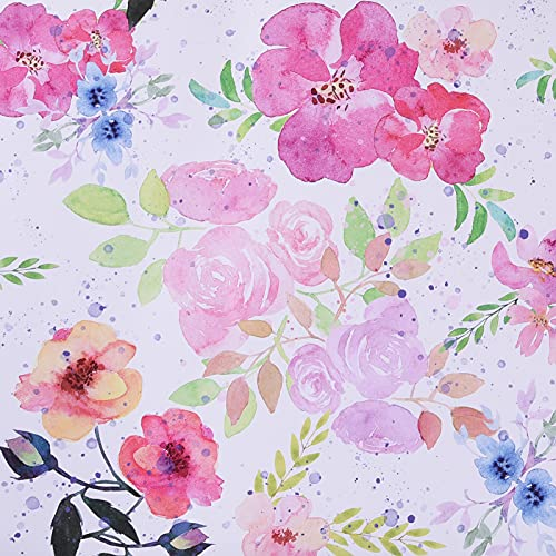 Floral Wallpaper Peel and Stick Watercolor White/Pink/Green/Navy Blue Vinyl Self Adhesive Prepasted Decorative