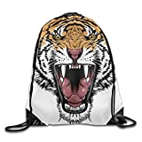 huatongxin Drawstring Backpack Bolsos de Hombro Tipo Mochila Handsome Tiger Head Gym Drawstring Backpack Unisex Portable Sack Bag 16.9' 14'