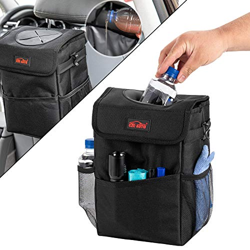 CZC AUTO Car Trash Can/Bin Leakproof Car Garbage Bin with Lid and Storage Pockets, Collapsible/Foldable Auto Trash Bin 2.3 Gallon Hanging Car Waste Bin with Adjustable Strap for Vehicle Organizing