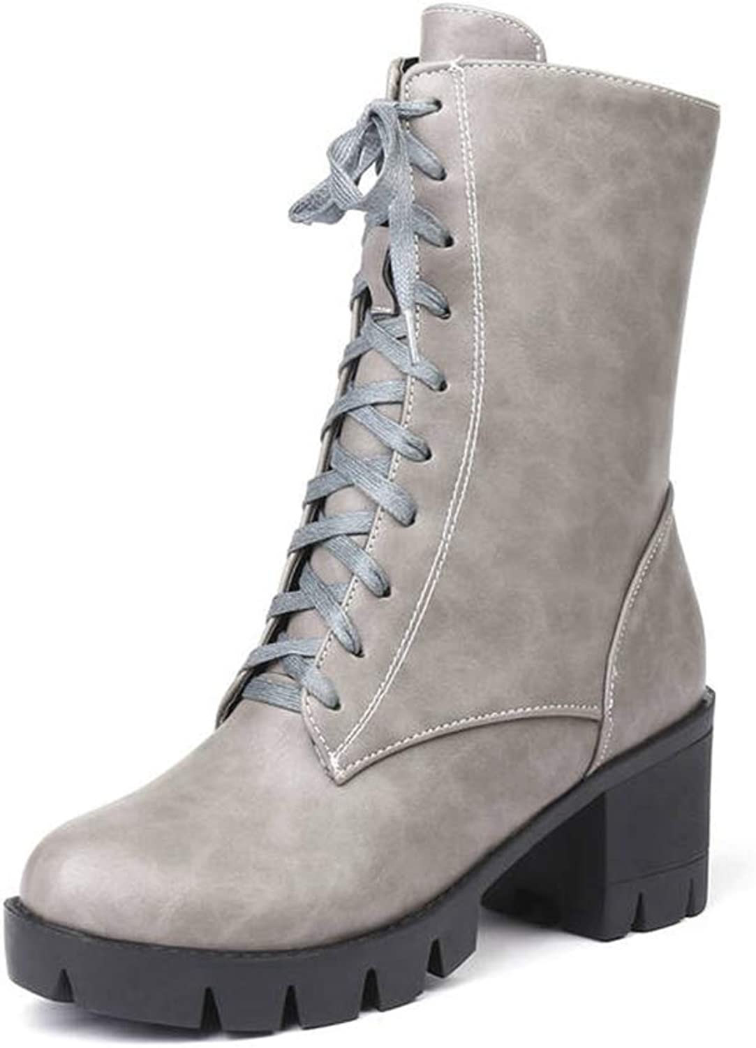 Woman Ankle Boots Lace Up Round Toe Zipper Antislip Sole Mid Square Heel Platform Fashion Winter Punk Boots