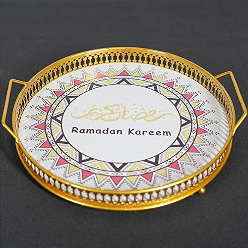 Hete-supply Voedsel dienblad, Ramadan Decoratie Geschilderd dienblad, Eid Mubarak Cake Lade Voor Thuis Eettafel, Creatieve Voedsellade Schaalplaat, 10.6310.631.97in