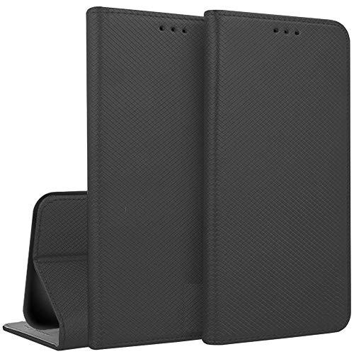 Compatible con Meizu M6 Note M721H pantalla 5.5 Funda Cover Case Stand Libro Gel Silicona TPU Ecopiel Cartera Porta tarjetas Imán (Negro)
