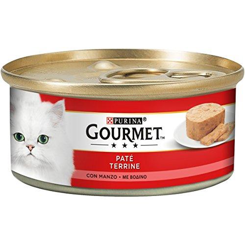 Gourmet Purina Rouge Hmido Chat Paté avec Bœuf, 195 g - 24 canettes de 195 g (Lot de 24 x 195 g)