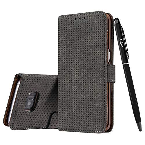 Galaxy S7 Edge Hülle (Nein für S7), Galaxy S7 Edge Schutzhülle Leder Hülle, Alfort Retro Premium PU Tasche Case Cover Flip (Dunkelbraun) + Schwarz Stylus Pen