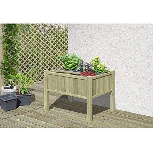Gartenwelt Riegelsberger Jardinière surélevée 109 x 78 x 80 cm en bois de conifère KDI avec 6 inserts pour jardinière, parterre d'herbes et légumes