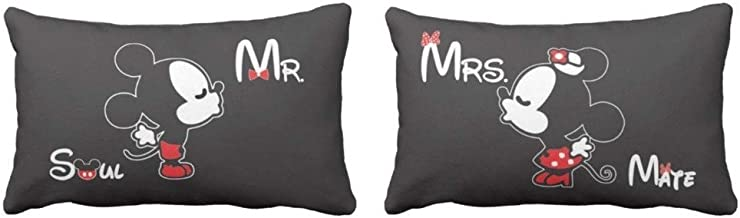YaYa cafe Soulmate Mr And Mrs Mickey Minnie Throw Pillow Case Sleep Covers King Size for Couples Set of 2 | Wedding Birthday Anniversary Gift for Husband Wife, Boyfriend Girlfriend