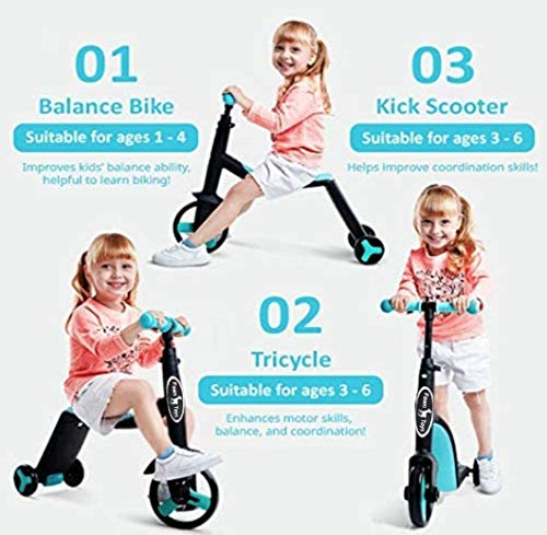 Fawn Toys 3-in-1 Junior Kick Scooter/Balance Bike/Tricycle Indoor/Outdoor Toddler Ride-On