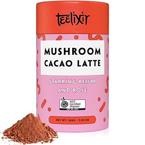 Teelixir Mushroom Raw Cacao Latte (3.5 oz) Certified Organic Hot Chocolate Mix with Reishi Superfood Mushroom Powder and Rose - Vegan, Paleo, Gluten Free, Unsweetened, Non GMO - Relax and Feel Calm